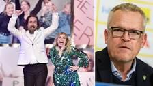Här beskriver programledarna Pernilla Wahlgren och Per Andersson hur programmet blir på lördagskvällen. Bland annat kommer vi få se Janne Andersson (t.h).