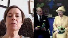 Medieforskaren Kristina Widestedt. Till höger Prins Philip och drottning Elizabeth
