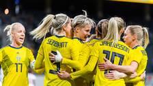 Svenskt jubel efter att Lina Hurtig gjort 1-0 hemma mot USA i lördags.