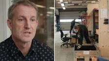 Stefan Jonsson, arbetsmarksnadschef i Ovanåker samt arbetsmarknadsprojekt för långtidsarbetslösa i pinnstolsfabriken i Ovanåker.