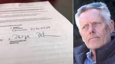 Till vänster namnteckning på dokument. Till höger bild på Jörgen Johansson.
