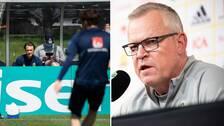 Albin Ekdal och förbundskapten Janne Andersson.