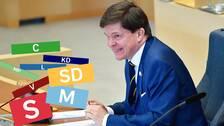 Klossar med partiloggor / Talman Andreas Norlén (M) i riksdagen.
