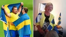 Mamma Taina Ståhl firade sonens OS-guld hemma i Viksjö.