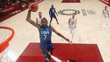 Kevin Durant dunkar i OS-kvartsfinalen mot Spanien.