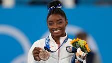 Simone Biles tog en bronsmedalj i sin OS-comeback.