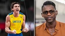 """SVT:s friidrottsexpert Alhaji Jeng beskriver Duplantis insats i OS-finalen som """"övermänsklig""""."""