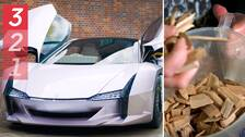 Foto på bil gjord av nanocellulosa och ett foto på en hand som håller i trä.