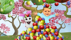 Jake and Nibbles spring out of a pile of fruit in the orchard.This image may only be used for publicity purposes in connection with the broadcast of the programme as licensed by BBC Worldwide Ltd & must carry the shown copyright legend. It may not be used for any commercial purpose without a licence from the rights holder.