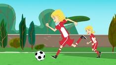 Lexi och Lottie spelar fotboll