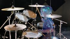 CGI-illustration av de fysiologiska mekanismer involverade när en människa spelar trummor.