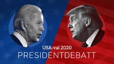 USA-val 2020: Presidentdebatt. Joe Biden och Donald Trump.