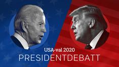 USA-val 2020: Presidentdebatt. Joe Biden och Donald Trump.