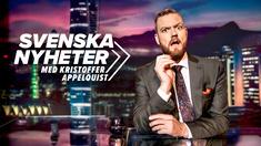 Programledaren Kristoffer Appelquist leder satirprogrammet Svenska nyheter.