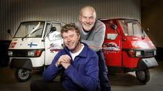 Øystein Bache och Rune Gokstad i programmet I mopedbil genom Finland.