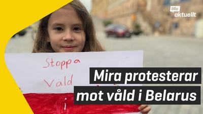 Hon protesterar mot våldet i Belarus