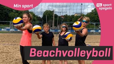 Kolla in när vi testar beachvolleyboll