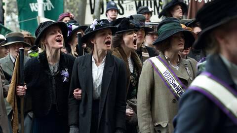 Violet Miller (Anne-Marie Duff), Maud Watts (Carey Mulligan) och Edith Ellyn (Helena Bonham Carter).