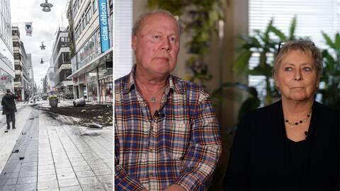 Bild på Drottninggatan och Marita Björkman och Raimo Mundér från Eskilstuna.