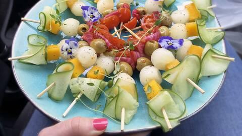 Spett med grönsaker och frukt.