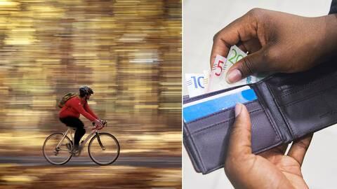 En person som cyklar i en skog med höstfärger och en person som tar sedlar ur en plånbok