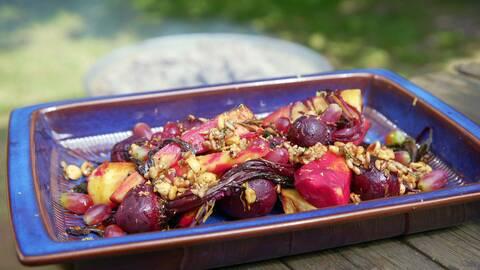 Rosmarinbakade rotfrukter.
