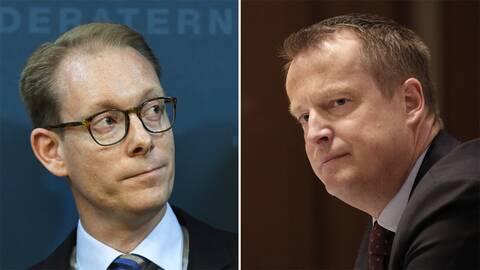 Gruppledarna Tobias Billström (M) och Anders Ygeman (S).