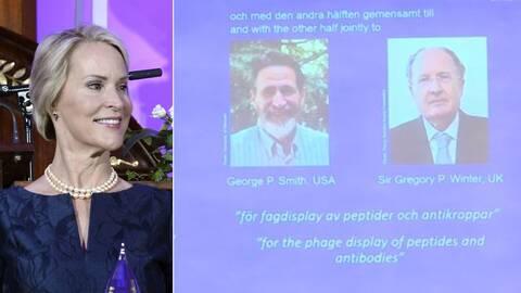Frances H Arnold från USA, George P Smith från USA och Gregory P Winter från Storbritannien får dela på årets Nobelpris i kemi.