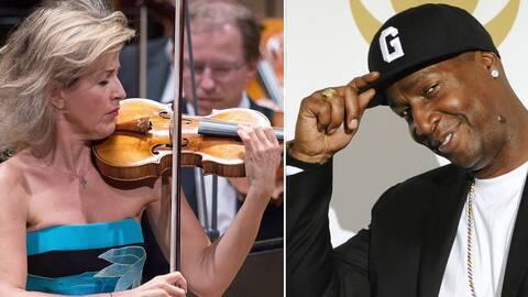 Anne-Sophie Mutter som spelar violinin och Grandmaster Flash som lyfter på kepsen.