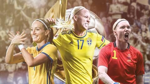 Kosovare Asllani, Caroline Seger och Hedvig Lindahl.