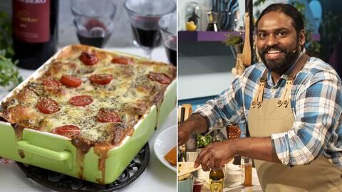 Genrebild lasagne och kocken Erik Brännström, Vilda kocken.
