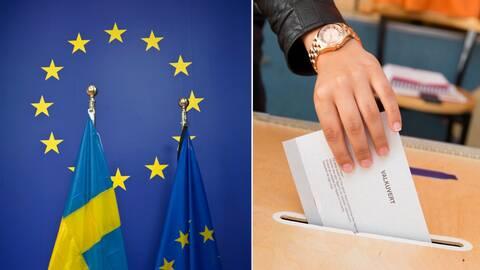 Bild på Sveriges och EU:s flagga och bild på hand som stoppar valkuvert i låda.