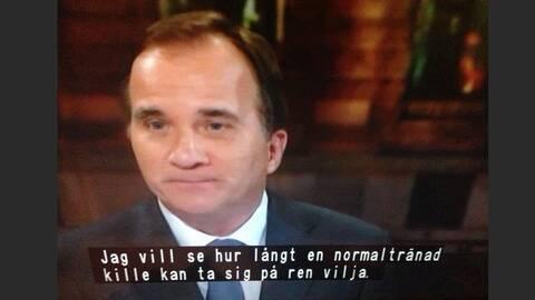 Stefan Löfven – med något felaktig undertext.