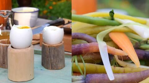 Ångade grönsaker med löskokt ägg.