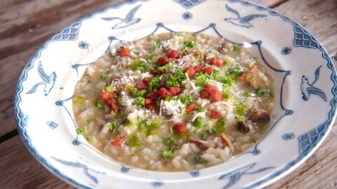 Svamprisotto med fänkål och pancetta.
