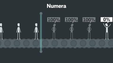 Bilden är en grafik som visar personer som åker på rullband genom en scanner och bedöms ha full arbetsförmåga eller ingen arbetsförmåga alls.