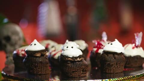 Familjen Rysbergs cupcakes och bloddryck.