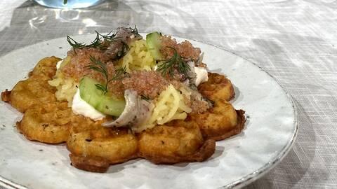 Krispig potatisvåffla.