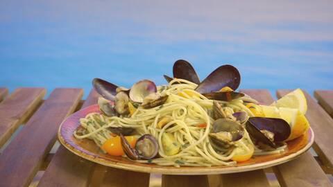 Spagetti med musslor.