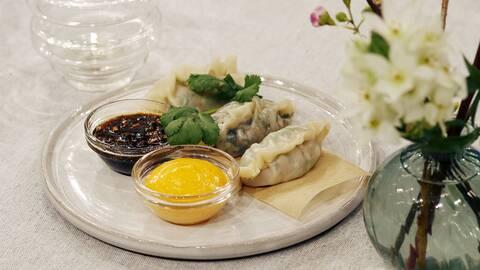 Dumplings med två fyllningar.