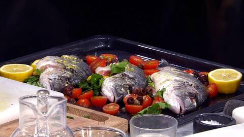 Hel fisk från Apulien (Orata al forno).
