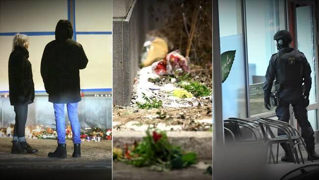 Blommor och ljus utanför kaféet där dödskjutningen skedde. Polisstyrka på plats i höger bild.