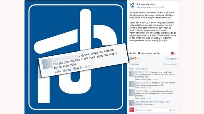 Så hånas Transportstyrelsen – på sin egen Facebooksida  c2264e22280e1