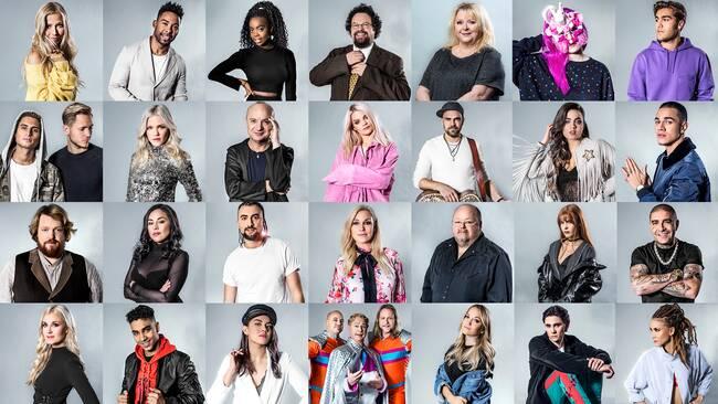 Kollage med artisterna i Melodifestivalen 2018
