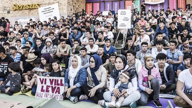 Foto från en protest av ensamkommande i Stockholm.