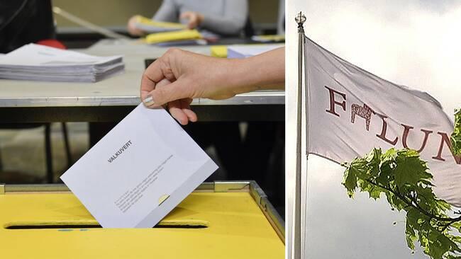 röstkort som läggs i valurna, falu kommuns flagga