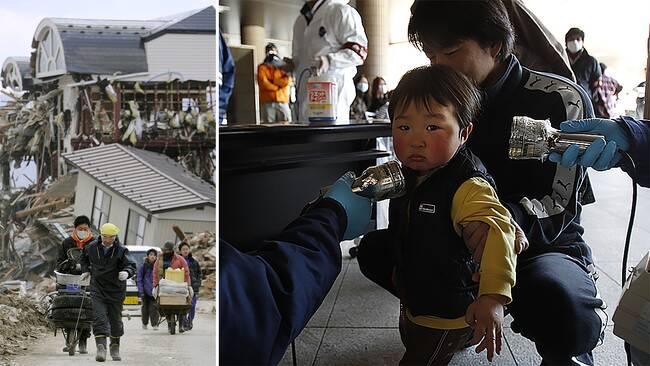 Människor i byn Rikuzentakata tar hand om de få tillhörigheter som tsunamivågen inte förstörde. En pojke som bodde nära kärnkraftverketFukushima Dai-ichi scannas på ett evakueringscenter.