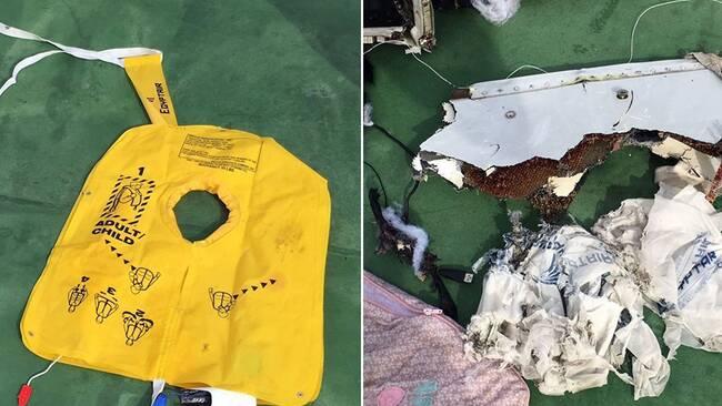 En flytväst och en vrakdel från Egyptair-planet som kraschade.