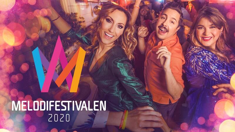 Lina Hedlund, David Sundin och Linnéa Henriksson, programledare för Melodifestivalen 2020.