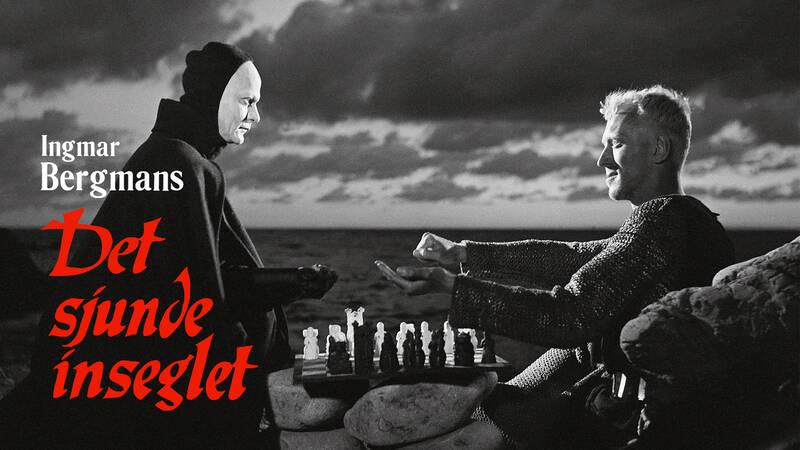 En riddare (Max von Sydow) spelar schack med döden (Bengt Ekerot) i Det sjunde inseglet.